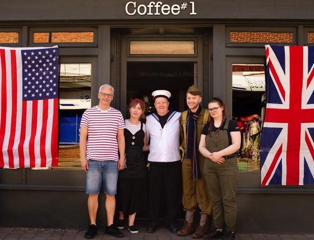 FUN: Staff at Coffee #1 dressed up for D Day 75th anniversary