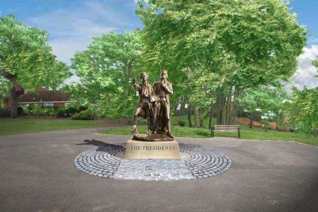 STATUE:  Generated image of how the  statue of American presidents John Adams and Thomas Jefferson will eventually  look in Fort Royal