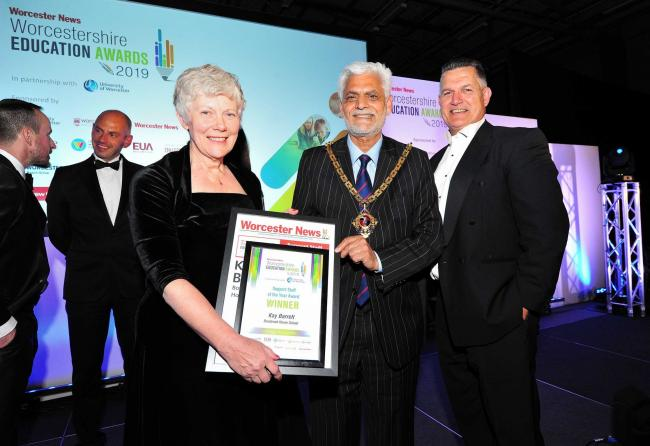 Mayor Coun Allah Ditta with Kay Barrett from Bowbrook House School at the Worcester News Worcestershire Education Awards 2019, held at the University of Worcester Arena. Pic Jonathan Barry 20.6.19.