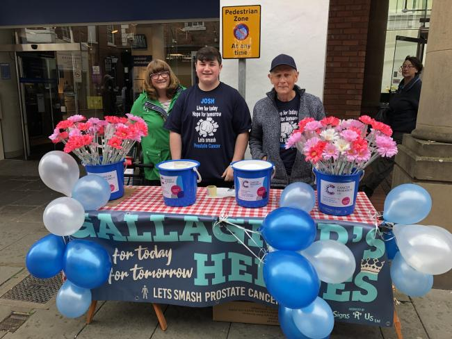 John Gallagher, and Veronica Gallagher, thier grandson Joshua Green (Team Gallagher) who collected for Cancer Research UK