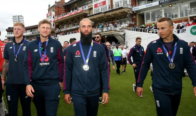 Moeen Ali wears his World Cup winners medal. Picture: Steven Paston/PA Wire/PA Images