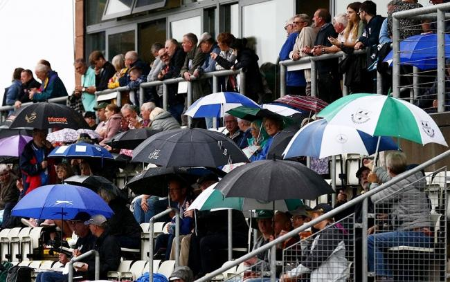 Worcestershire fans get their umbrellas out at Blackfinch New Road. Picture: Twitter @WorcsCCC