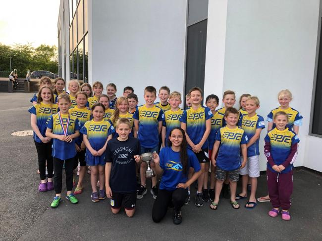 Pershore Swimming Club youngsters at the John Neale Trophy Gala. Picture: IAN HEEKS