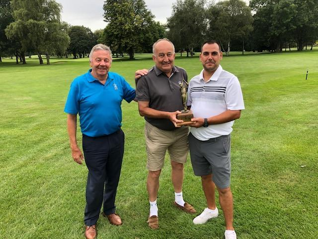 Raymond Gray Trophy winners Malcolm Carnall (centre) and Dan Ritchings (right) with Evesham club captain Pete Moore. Picture: ALAN ASKEW