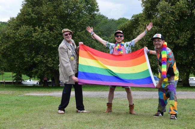 Rob Chandler (centre) needs sponsors for the first Evesham Pride event