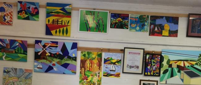 Some of the art produced by Evesham's Garage Art Group