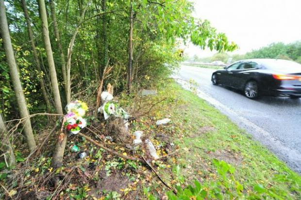Flowers have been left near to the scene of the crash off the A449 in Worcester