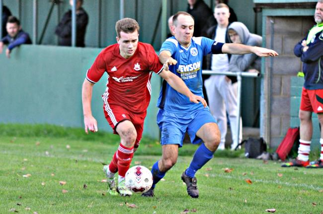 Dean Fisher, who scored both Littleton goals, in action against AFC Bridgnorth. Picture: MICHAEL PITTS