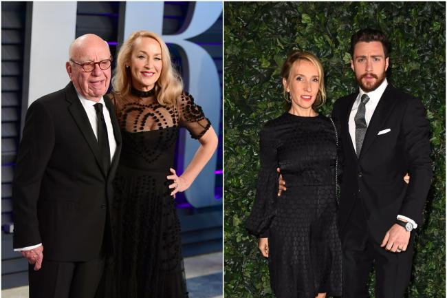 Rupert Murdoch and Jerry Hall (left) and Sam Taylor-Johnson and Aaron Taylor Johnson