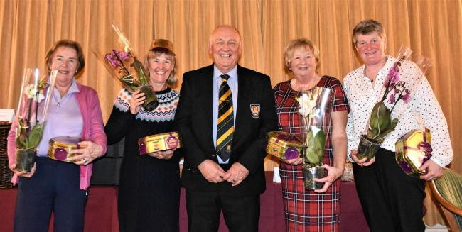 The winning ladies' team receive their prizes from captain Andy Basford (left to right): Angela Sollis, Irene Hawkes, Barb Buggin and Sue Barker. Picture: BROADWAY GOLF CLUB