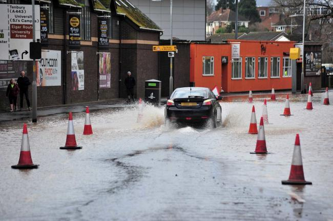 FLOOD: A flooded New Road in Worcester on Monday (February 17)