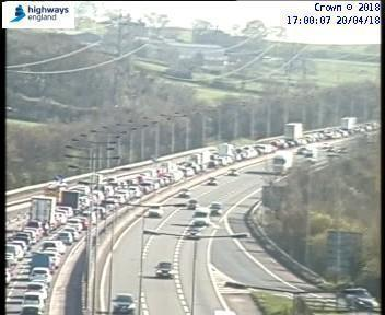 Traffic is stationary on M5 Southbound