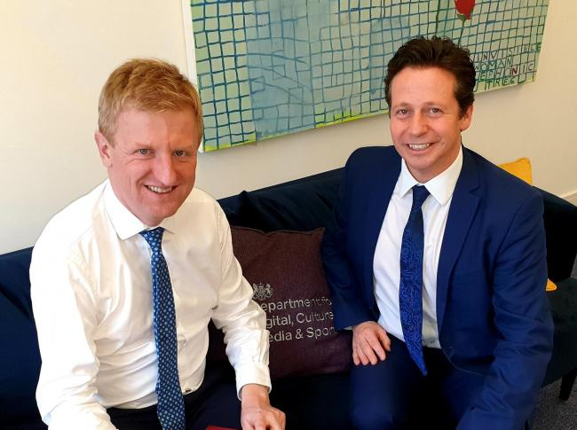 Nigel Huddleston, right, with the new Secretary of State, Oliver Dowden