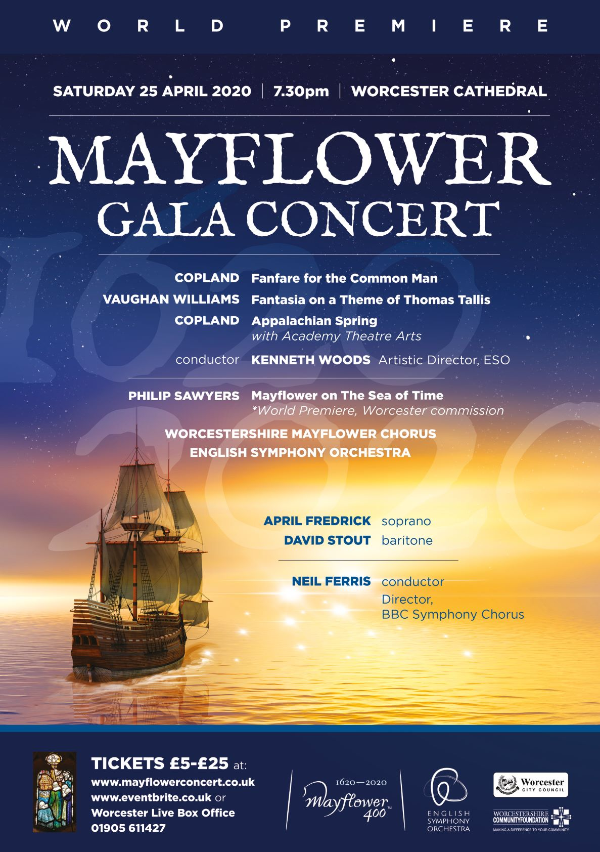 Worcester commemorates 'Mayflower 400' with a World Premiere Gala Concert with the English Symphony Orchestra
