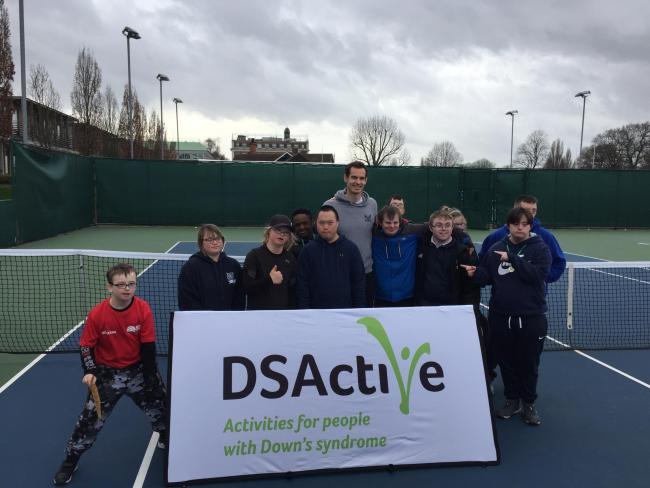 DSActive tennis players meet Andy Murray at Roehampton. Picture: PERSHORE TENNIS CENTRE