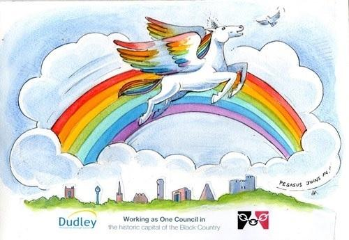 Local artist Steve Field has created a rainbow design with a Dudley twist.