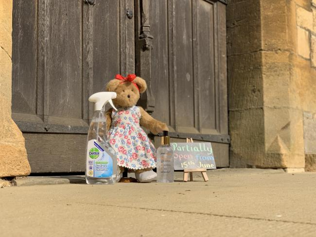 Little Pershore Abi waiting outside the abbey for the doors to open.