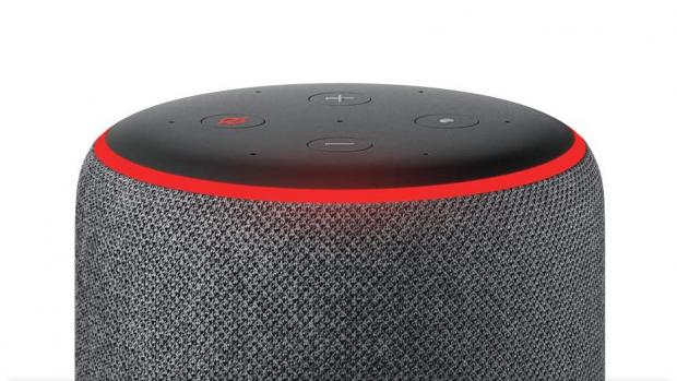 Evesham Journal: A red light ring means the Echo's microphones are turned off, and Alexa can't hear your conversations. Credit: Amazon