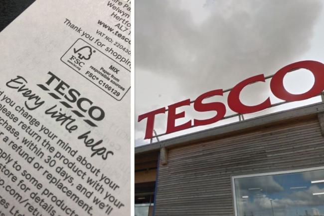 The hidden message for shoppers on Tesco receipts. Picture: Newsquest