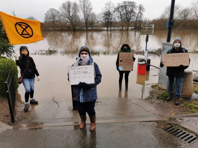 PROTEST: Extinction Rebellion members in Worcester during December's flooding protest
