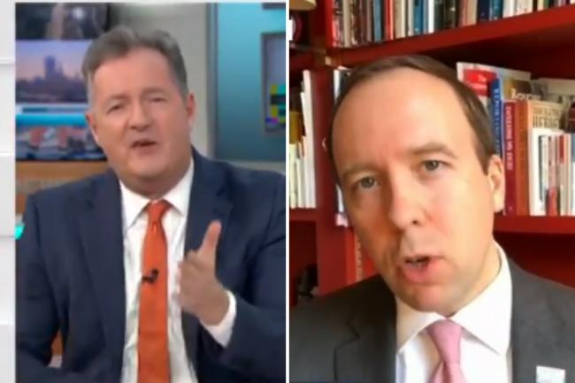 Matt Hancock and Piers Morgan rage during fiery GMB clash. (@GMB)