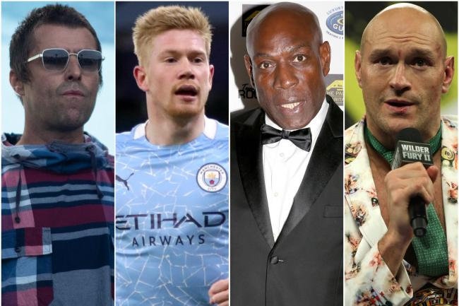 Liam Gallagher, Kevin De Bruyne, Frank Bruno and Tyson Fury