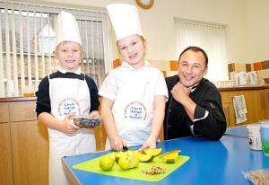Celebrity chef Alan Coxon pictured with junior chefs Theo Chinn-Brown and Mia Birch.
