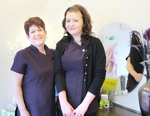 Apprentice Claudia Chater with Catherine Wainwright, owner of  Croppers hair salon.