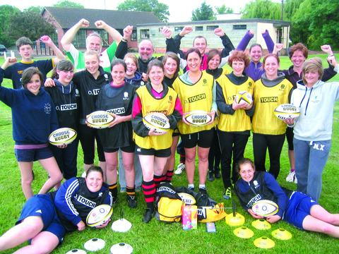 KITTED OUT: Pershore players with their new touch rugby equipment. Picture: FIZZ BEWLEY