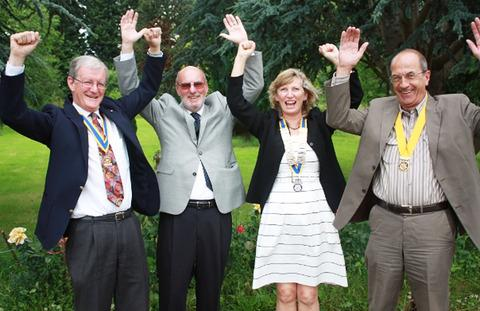 NEW PRESIDENT: Pershore Rotary Club members celebrate the appointment of Judith Gath.
