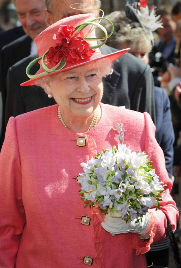 DAZZLING: The Queen in Birmingham this morning
