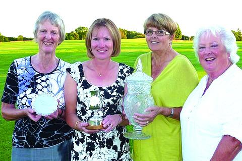 AWARDS GALORE: Broadway's lady captain Chris Moulder (far right) presents prizes to the competition winners (from left) Henrietta Cooke, Vicky Watkins and Judith Noyce.