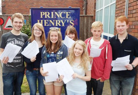 WHAT A RESULT! Some of the Prince Henry's High School pupils who received their GCSE results last week. From left to right: Robert Mayer, Zoe Pillar, Charlotte Abdy, Lucy Anderson, Anna Scott, Elis Jones and Matthew Dixson.