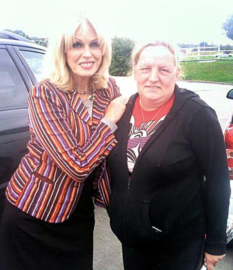 NICE TO MEET YOU: Ali Gurney was delighted to bump into Joanna Lumley at the Twyford Filling Station on Sunday.