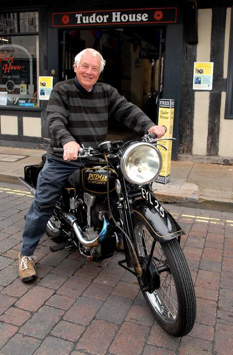 REVVING: John Wagstaff astride his 1386 Rudge outside Tudor House in Friar Street.