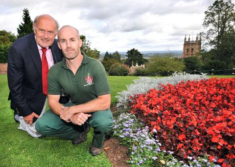 WE'RE SMELLING OF ROSES AGAIN: John Jordan, chairman of Malvern in Bloom, and Joe Whitman, head gardener for Rose Bank Gardens.