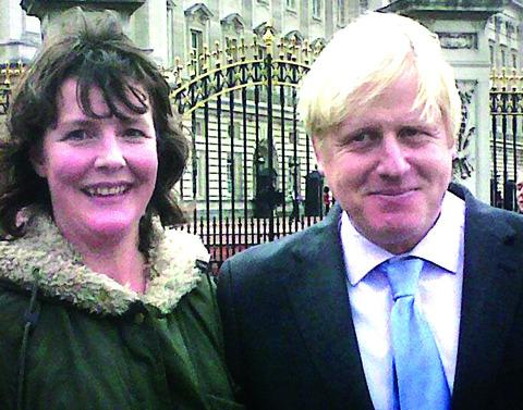 VICTORY PARADE MEETING: Sarah Hollier with London Mayor Boris Johnson.
