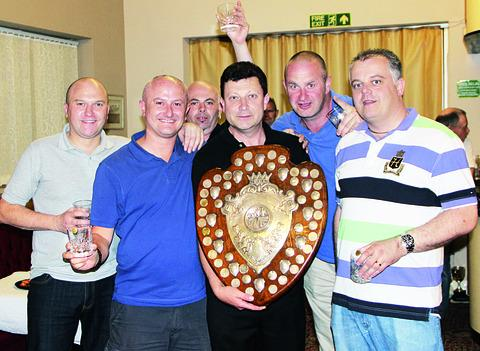STRIVING FOR SILVERWARE: Ecgwins Elite want to retain their Evesham and District League Division One title and line up (left to right): Neil Parker, Gary Parker, Graham Townsend, Dean Powell, Stuart Cottrell and Joey Cockerton. Picture: GRAHAM CONNOR