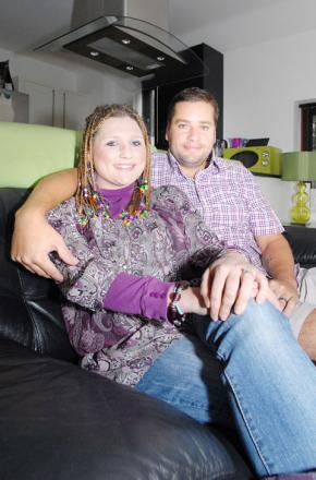 MY MIRACLE WIFE: Smiles from Stefanie and her husband Anthony Gould.