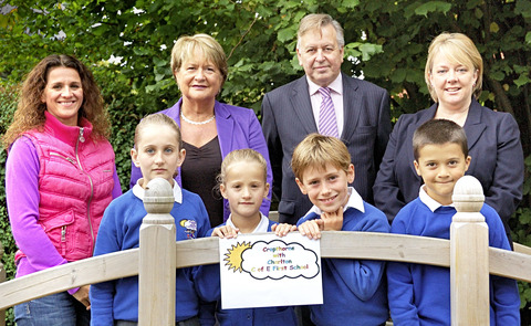 Back row l to r: Trustee Leanne Seal, headteacher Sally Martin, McCarthy Taylor managing director Paul Taylor and Dawn Oliver, of Harrison Clark. Front row l to r: Pupils Carrigan Seal, Morganne Seal, Adam Getting and Joseph Hunt.