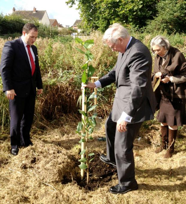 GREEN FUTURE: The Duke of Gloucester plants a tree