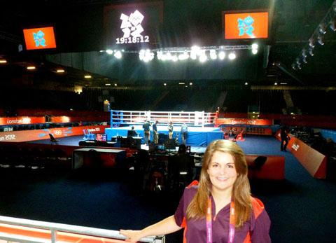 Gamesmaker Charlotte Jarman from Evesham at the London 2012 boxing venue, the ExCEL.