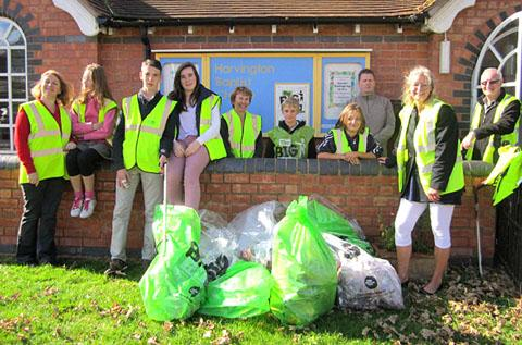 KEEPING IT CLEAN: The litter-pickers in Harvington