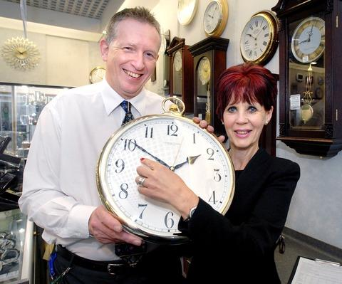 TURNING BACK: Andrew Whittington and Jenny Bourne at F Hinds jewellers. 43160801.