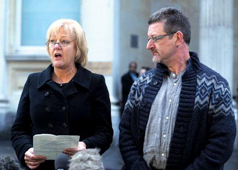 Betty Yates's children Hazel Costello and David Yates speaking after the guilty verdict