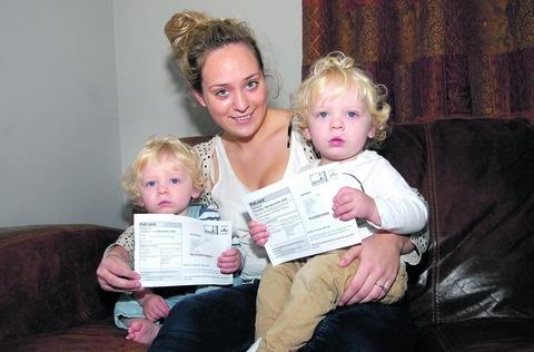 SILENT MAJORITY: Harriet Hurdman of Harvington with her twins Finley and Lennon, who have been sent polling cards for the Police Crime Commissioner elections. 44165701