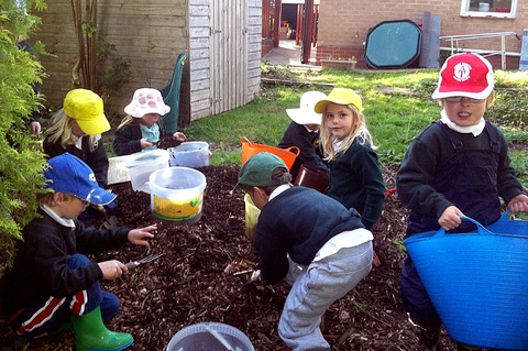 FRESH AIR LEARNING: Children at Elmley Castle First School enjoying outdoor activities.