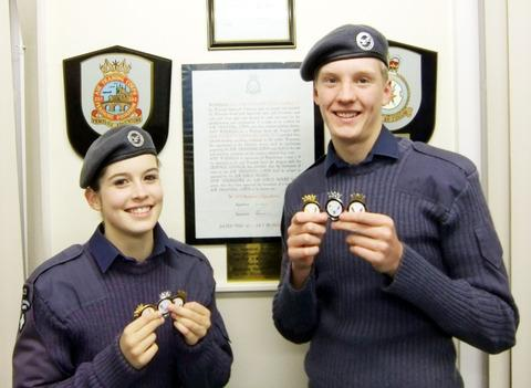 PERSHORE AIR CADETS: Melissa Humphrey and Matthew Rochelle.