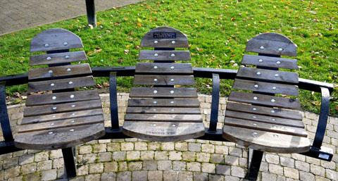 GRAFFITI: The memorial benches in the town's Abbey Park have been defaced by vandals.