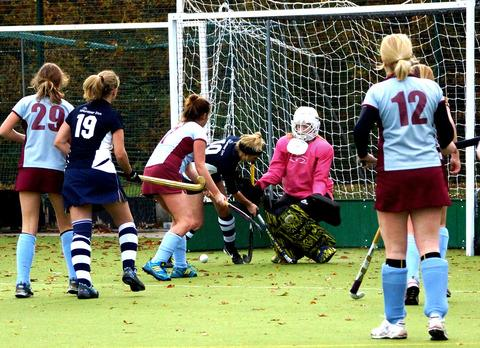 ON FIRE: Blockley's four-goal hero Fiona Drinkwater tries to force the ball home past the East Gloucester goalkeeper watched by team-mate Lindsay Hay (number 19) during Saturday's clash. Picture: KEVIN HOBKIRK